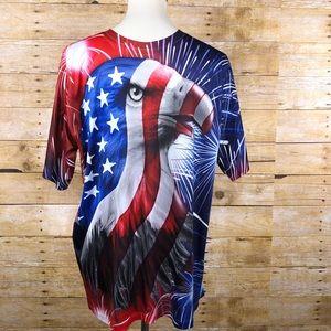 Spirit of America Eagle and Flag shirt Sz L